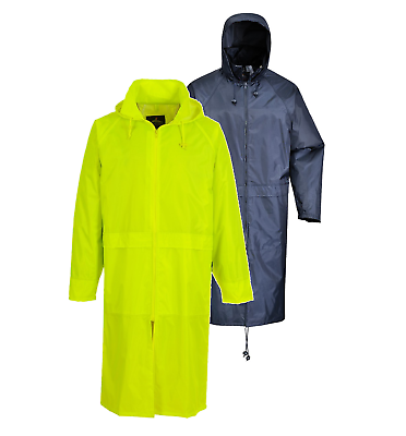 Portwest Long Rain Over Coat Zipped Jacket Poncho Hooded Waterproof Unisex Lin