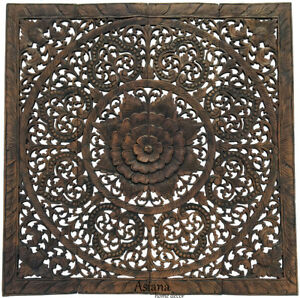 Details About Carved Wood Sacred Fig Leaf Floral Asian Bali Home Decor Wall Art Panels 48