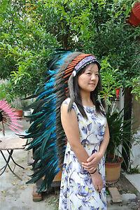 36inch TURQUOISE indian feather headdress indian war bonnet halloween costume