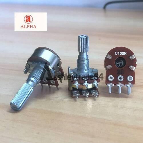 6pcs ALPHA C100K Dual Stereo Potentiometer Log Taper pots Knurled shaft push on