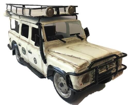 29cm Blechmodell Land Rover Safari Jeep weiß Oldtimer Modell Auto Geschenk Deko