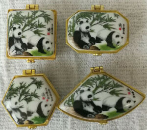 Porcelain jewelry box painted animals panda Chinese rare animals total 4 pieces