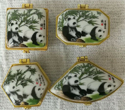 Porcelain jewelry box painted animals panda Chinese national treasure 4 pieces