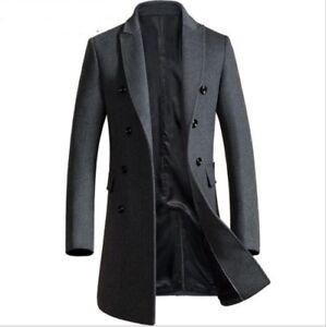 Mens woolen trench coat jacket long parkas wool overcoat outwear windbreaker