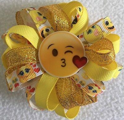 "Girls Hair Bow 3 1//2/"" Emoji Flower Bow Poop Flatback Alligator Clip"