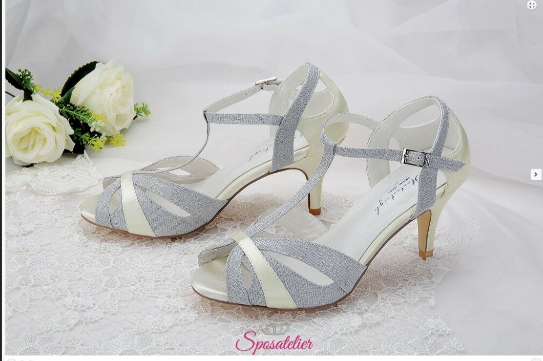 Silver wedding shoes number 39 Height 7 cm Top Quality
