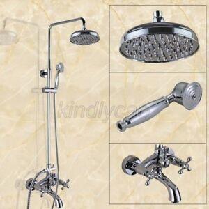 Chrome Brass Rain Shower Faucet Set Shower System With Tub Spout Faucet Kcy355 Ebay