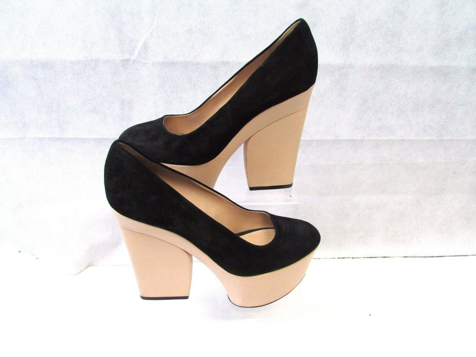 CELINE PLATFORM BLOCK HEELS UK BLACK SUEDE SHOES 38.5 UK HEELS 5.5 AUTHENTIC bd4c05
