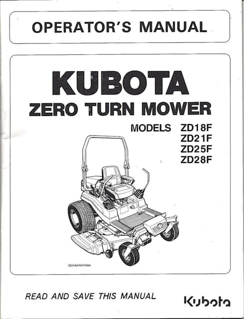 kubota zd18 zd21 zd25 zd28 zero turn mower operator manual ebay rh ebay com Kubota ZD25 Weight wiring diagram for kubota zd25