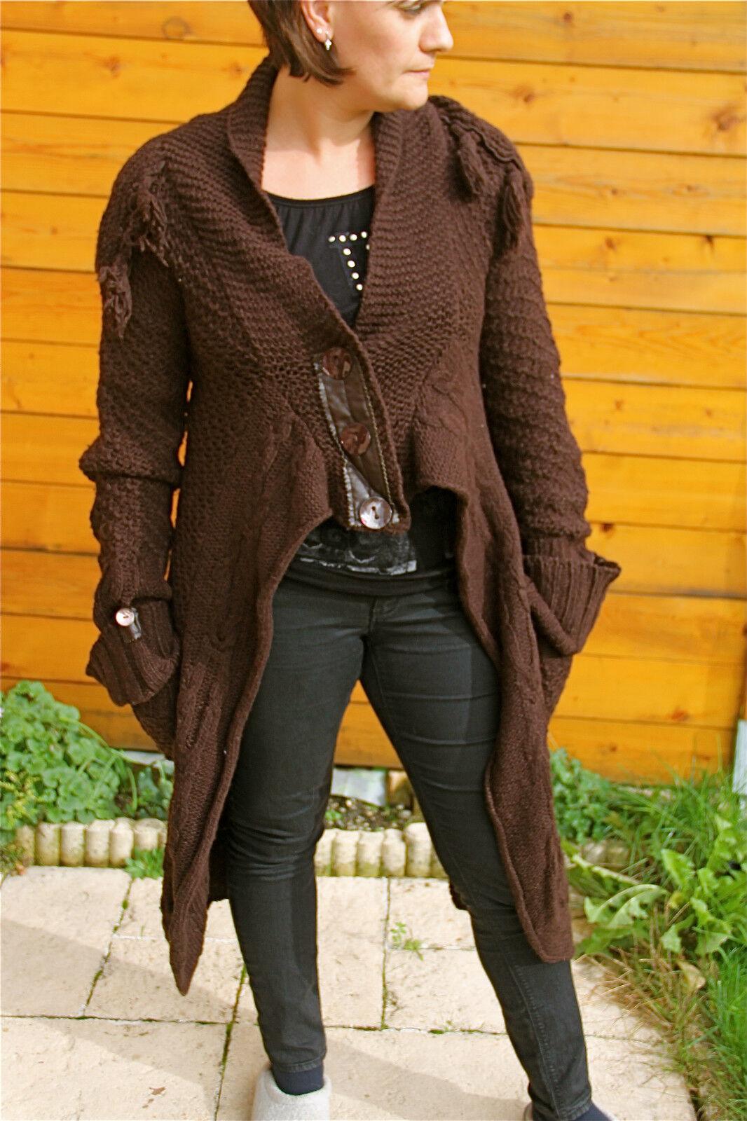 Coat wool vest brown MC PLANET T 38 new label TOP RANGE val