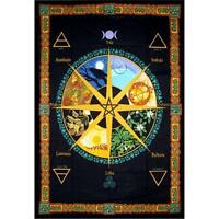 Pagan Wheel Of The Year Calendar Cotton Tapestry