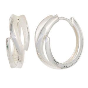 Creolen-925-Sterling-Silber-mattiert-Ohrringe-Silberohrringe-Silbercreolen