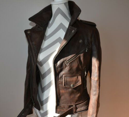 Vintage Real Leather Brand Distressed Brown Classi