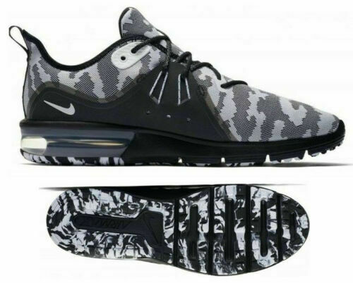 separation shoes 4a0bc 2af2c NEW NIKE AIR MAX SEQUENT 3 PREMIUM CAMO MEN'S RUNNING SHOES BLACK WHITE -  Size 9