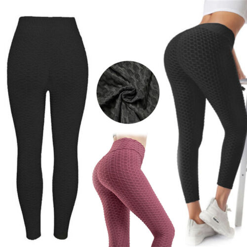 Womens Gym Leggings High Waist Fitness Sports Yoga Pants Ruched Push Up Trousers