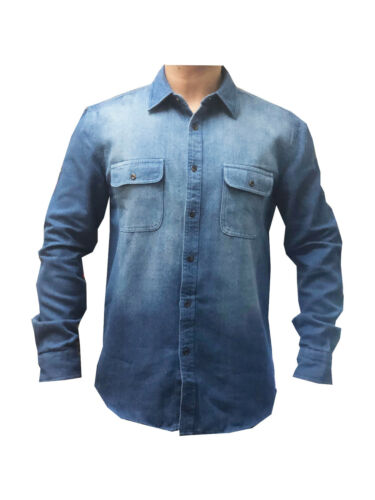 Mens New Heavy Duty Denim Jeans Shirt Cotton Work Causal Flap Pocket Top Shirts