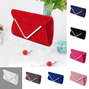 Plain-Suede-Wedding-Ladies-Party-Prom-Evening-Clutch-Handbag-Purse-Hand-Bag