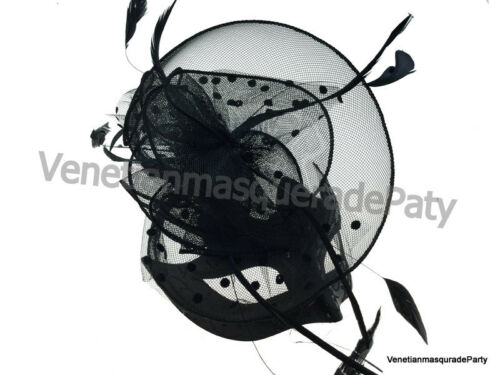Black Feather fascinator hat eye Mask Masquerade Ball Halloween Costumes party