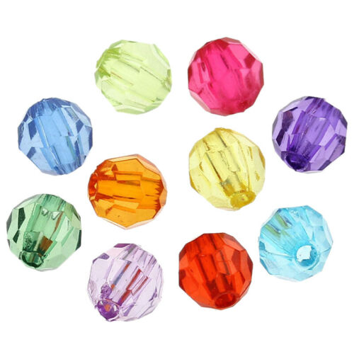 500x Mixed Acrylic Faceted Round Spacer Beads 6mm Dia L1P3