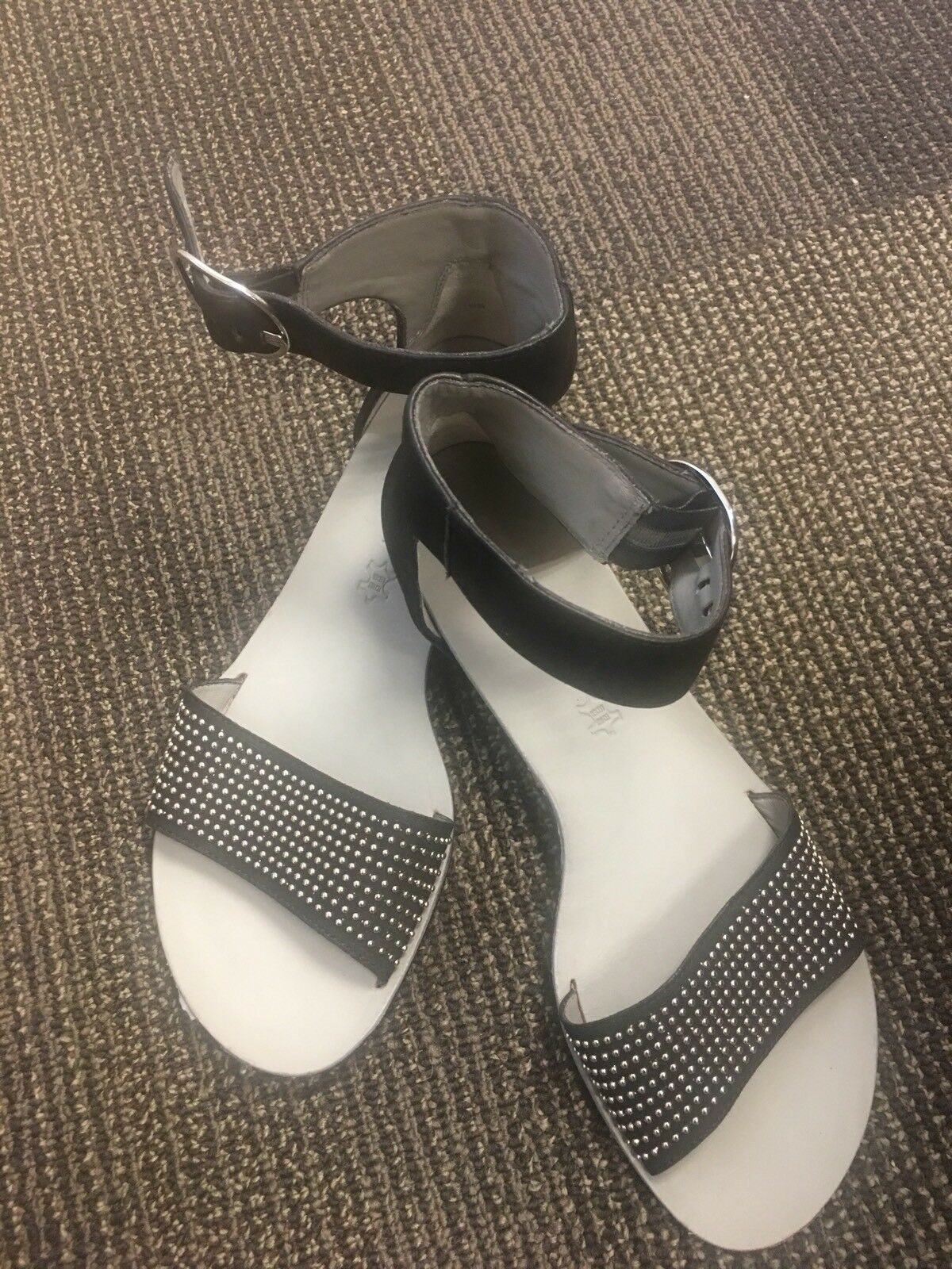 Paul Green  Studded. Black Ankle Strap Sandal Sz 6.5