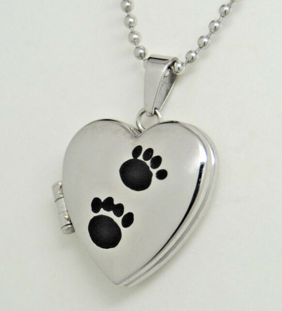 ADORABLE PAW PICTURE LOCKET NECKLACE PET MEMORIAL PHOTO LOCKET KEEPSAKE PENDANT