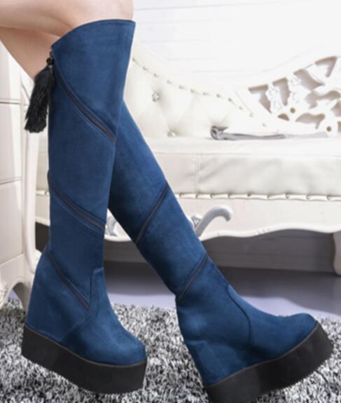 Plataforma de ante para mujer cuña la oculta la cuña rodilla alta botas de montar Zapatos Puntera Redonda F504 289c8d