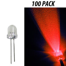 8mm Led Light Emitting Diodes Clear Component Red Lights 100 Pack
