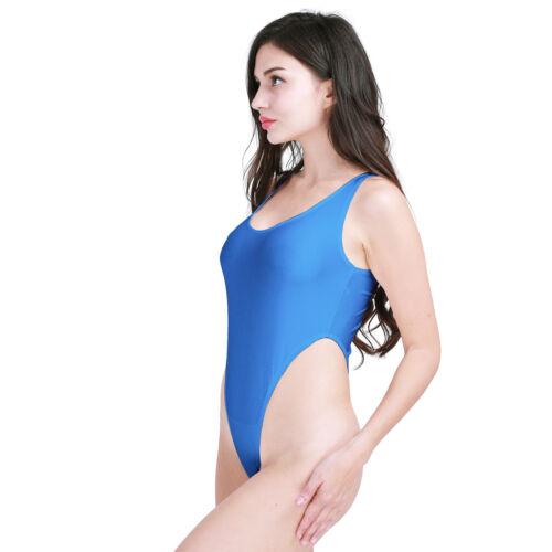 US Women/'s Metallic Leotard Dancewear High Cut 1-Piece Bikini Bodysuit Swimwear