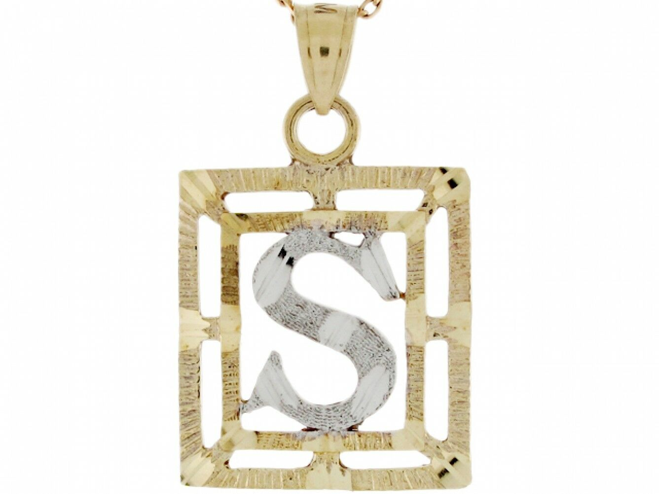 10k or 14k Two Tone Real gold Letter S in Frame Initial Pendant
