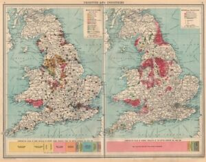 Map Of The England.Details About England Wales Mining Manufacturing Products Industries Coal Cu Tin Pb 1939 Map