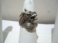 STERLING SILVER DRAGON RING SIZE 8.0 SCALED NECK PROTRUDING TONGUE FAT TAIL GG