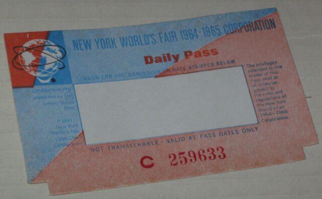 1964-65 NY World's Fair Unused Daily Pass