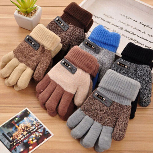 Boys Kids Warm Knitted Gloves Winter Thick Full Mitten Finger Protector New
