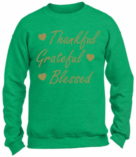 Thankful Grateful Blessed Christmas Sweatshirt Thanksgiving Holiday Sweater Xmas
