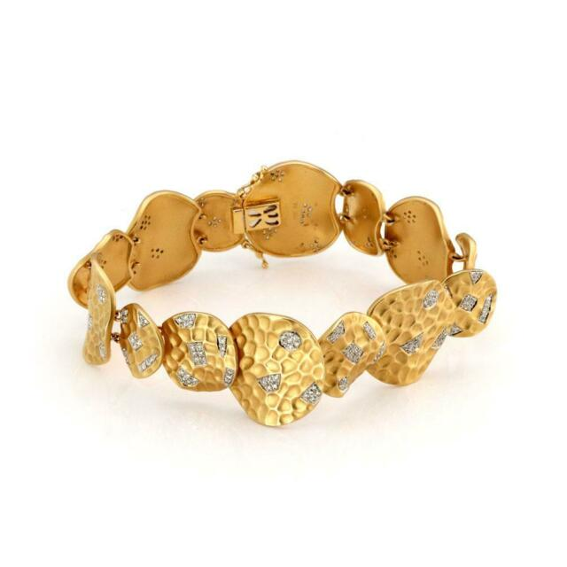 Diamond 18k Two Tone Gold Assorted Size Round Layered Links Bracelet