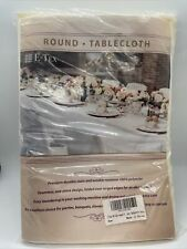 E-TEX  Tablecloth 90 inch Round Ivory New