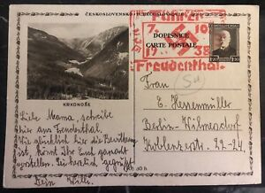 1938 Sudetenland Germany Stationary Postcard Cover Provisional Cancel To Berlin