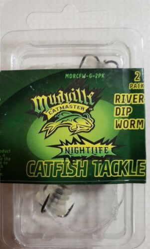 Mudville CatMaster River DIP Worm Pack 2 Glow Catfish Tackle mdrcfw-G-2PK