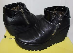 f322fdee05a Image is loading FLY-LONDON-Yoxi-Wedges-Black-Leather-Booties-New-