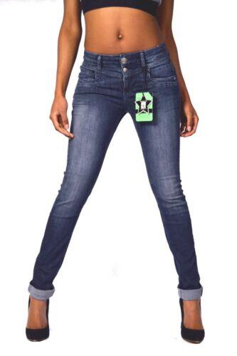 Tolles Design GLÜCKSSTERN Jeans MERLE Dunkelblau Regular Waist Slim Fit NEU