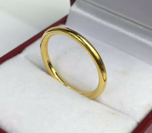 Size 7 24K Solid Pure Gold Handcraft Solid Weeding Band Ring 3.55 Grams