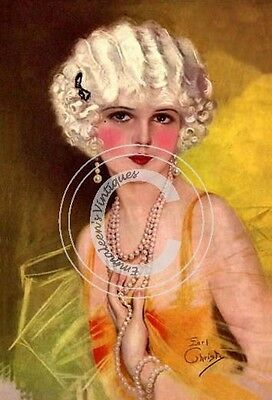 ~Vintage Art Deco 1920's Shabby Flapper Woman In Gold Waterslide Decals ~ WOM934