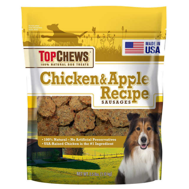 New 40 oz Top Chews Chicken & Apple Recipe 100% Natural Dog Treats one bag only