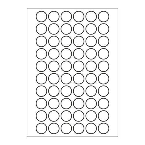 1500 24mm runde Etiketten Weiss 25 Blatt A4 Rund Aufkleber Punkte Kores 24x24