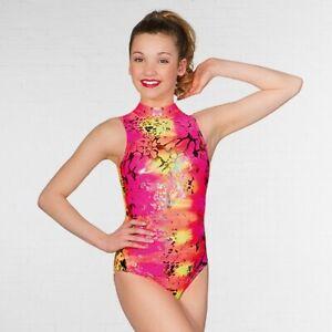 7bde9ce5221 1st Position Polo Neck Pink Neon Hologram Printed Dance Gymnastics ...