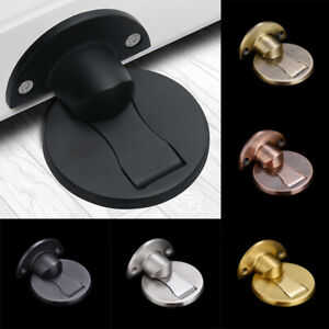 Magnetic-Ground-Suction-Door-Stopper-Punch-Free-Doorstop-Holder-Hidden-UK