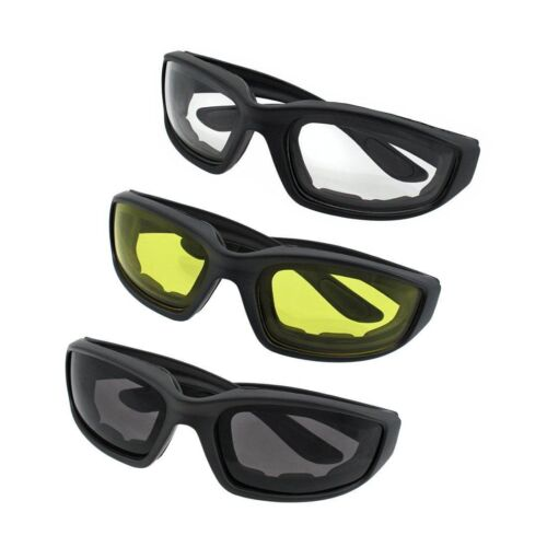 PADDED 3 PAIR MOTORCYCLE RIDING GLASSES SMOKE CLEAR YELLOW COMFORTABLE