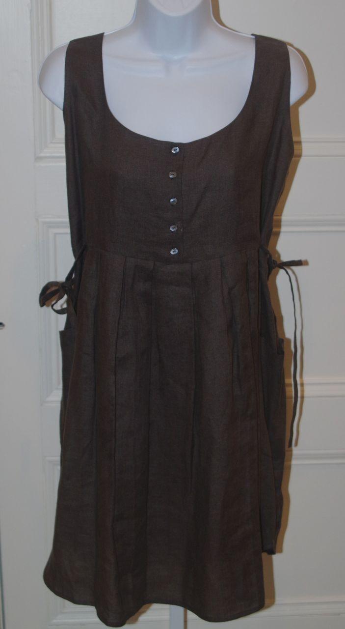 MORGANE LE FAY BY LILIANA ORDAS Brown Linen Sleeveless Button Front Dress Sz S