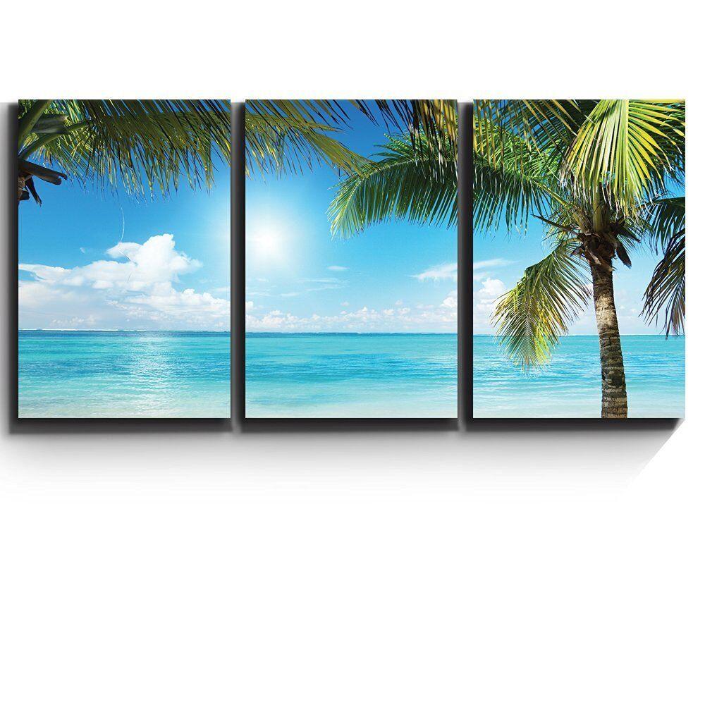 3 Piece Canvas- Tropical Blau waters framed by Palms - Giclee Artwork -16 x24 x3