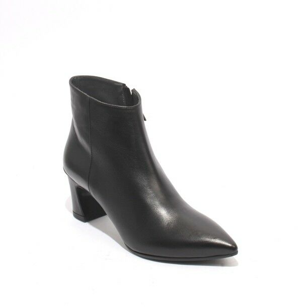 Gibellieri 408 Black Leather   Pointed Toe Zip-Up Ankle Heel Boots 37.5   US 7.5